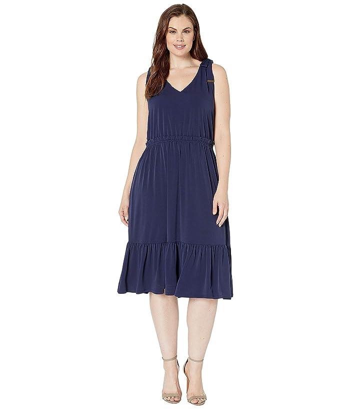 MICHAEL Michael Kors Plus Size Tie Shoulder Midi Dress at Zappos.com