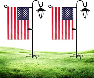 JOYSEUS Garden Flag Holder Stand and Shepherd Hook - 2 Pack - 36 Inch with 1/2 Inch Thick Heavy Duty Rust Resistant Flag H...