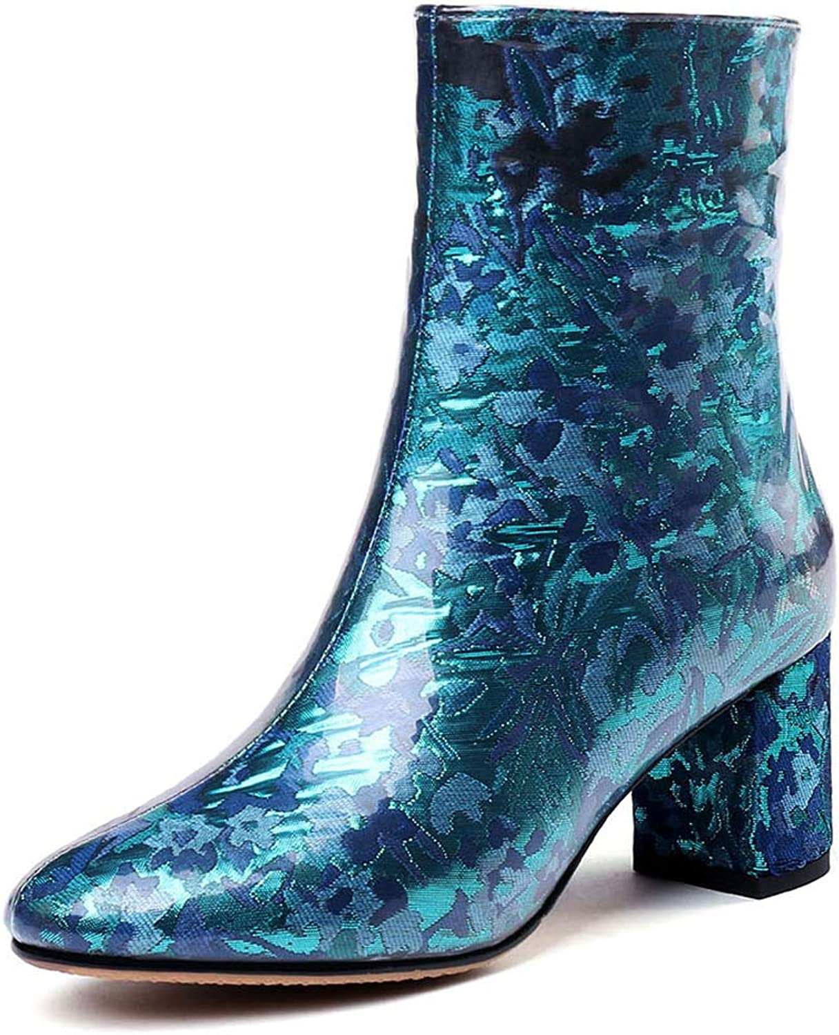 Women's Booties, Winter Floral Satin Ladies Fashion Boots Thick High Heel Leather Lining Pointed Martin Boots (color   B, Size   36)