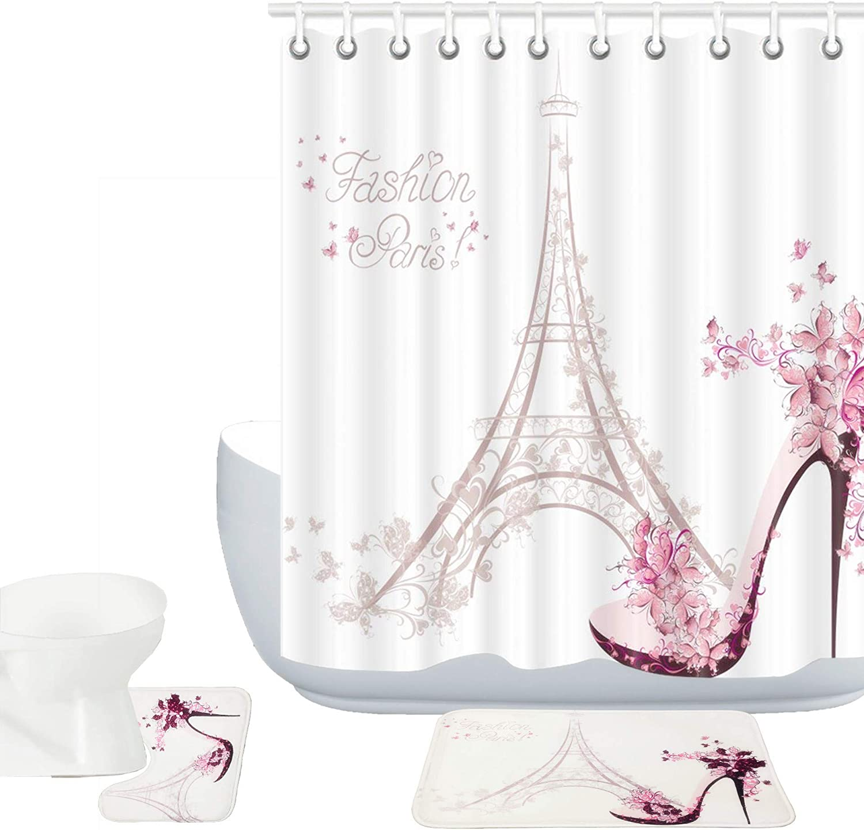 Amagical Paris Eiffel A surprise price is realized Tower Decor 15 Set Bathroom Mat Rug Piece Safety and trust
