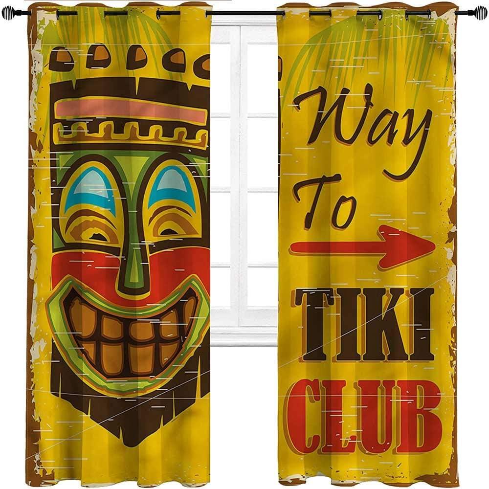 Interestlee Kitchen Window Same day shipping Curtains Tiki Wind Ranking TOP19 Bar Print Grommet