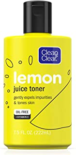 Clean & Clear Brightening Lemon Juice Facial Toner with Vitamin C and Lemon Extract to Gently Expel Impurities and Tone Sk...