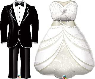 Bride's Wedding Dress & Groom's Tuxedo Foil Party Balloons