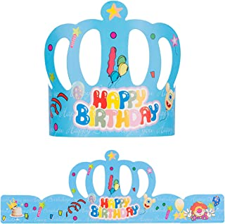 FLYTT 30 PCS Birthday Crowns,Party Crown Hat Cap for Kids Classroom School,Birthday Party, Baby Shower Blue