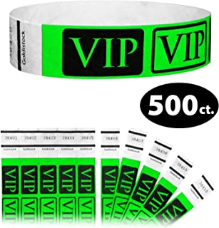 "Tyvek Wristbands - Goldistock VIP Deluxe Neon Green 500 Count - ¾"" Arm Bands - Paper-Like Party Armbands - Heavier Tyvek Wrist Bands = Upgrading Your Event"