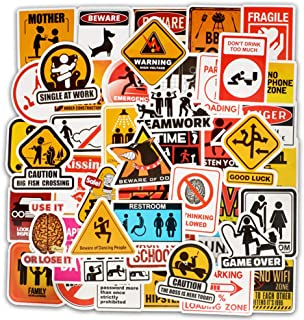 Jasion 50-Pcs Vinyl Stickers Waterproof Bomb Funny Caution Warning Sign Graffiti Decals for Water Bottles Cars Motorcycle Skateboard Portable Luggages Phone Ipad Laptops