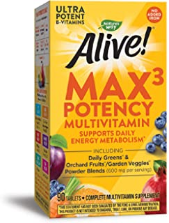 Nature's Way Alive! Max3 Potency Multivitamin, High Potency B-Vitamins, No Iron, 90 Tablets