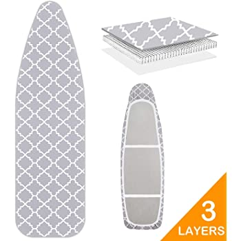 "WISHOP Scorch Resistance Ironing Board Cover and Pad Resists Scorching and Staining with Elastic Edge Heavy Duty Thick Ironing Padding Standard Size 15""x54"" Cotton Ironing Board Covers"
