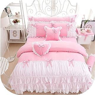 100% Cotton Pink Purple King Queen Twin Single Double Size Girls Bedding Set Ruffles Korean Bed Set Bedsheet Set Duvet Cover,Color 1,Full Size 4Pcs