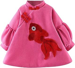 Dream Room Baby Girl Cheongsam Dresses, Newborn Girls Cartoon Coat Warm Woollen Cloth Outerwear Dress