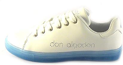 Don Algodon Zapatillas Deportivas Mujer Blanco con Suela Azul, Deportivas Tipo Tennis Blanco con Detalle de la Marca Don Algodon en picado Lateral, Cierre Cordones (Numeric_40): Amazon.es: Zapatos y complementos
