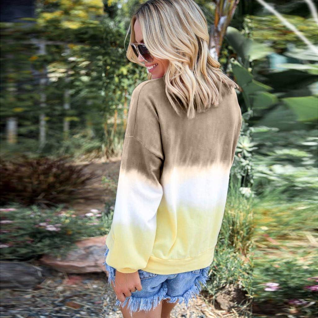UOCUFY Womens Pullover Tops, Womens Tops Casual Crewneck Long Sleeve Loose Gradient Kawaii Pullover Sweatshirt