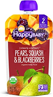 Happy Family Organics Clearly Crafted Stage 2 Baby Food Pouch - Pears, Squash & Blackberries, 113 gm