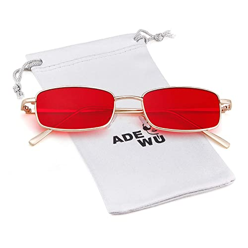 559178f8a6 ADEWU Square Sunglasses Fashion Retro Small Rectangular Glasses for Women  Men