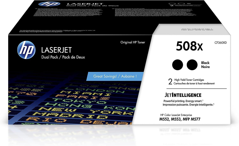 HP 508X | CF360XD | 2 Toner-Cartridges | Black | Works with HP Color LaserJet Enterprise M553 series, M577 series | High Yield