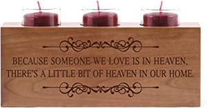 "LifeSong Milestones Memorial Funeral Candle Holder Those Who We Love Don't Go Away Engraved Cherry Wood Keepsake Ideas for Loved One 10"" L x 4"" H (Because Someone We Love)"