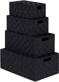 LEAVINSKY Nylon Woven Box, Woven Storage Baskets Box Bin Container, Nylon Storage Basket Box with Lid, Stackable Storage Basket Woven Strap Organizer Built-in Carry Handles (Black)