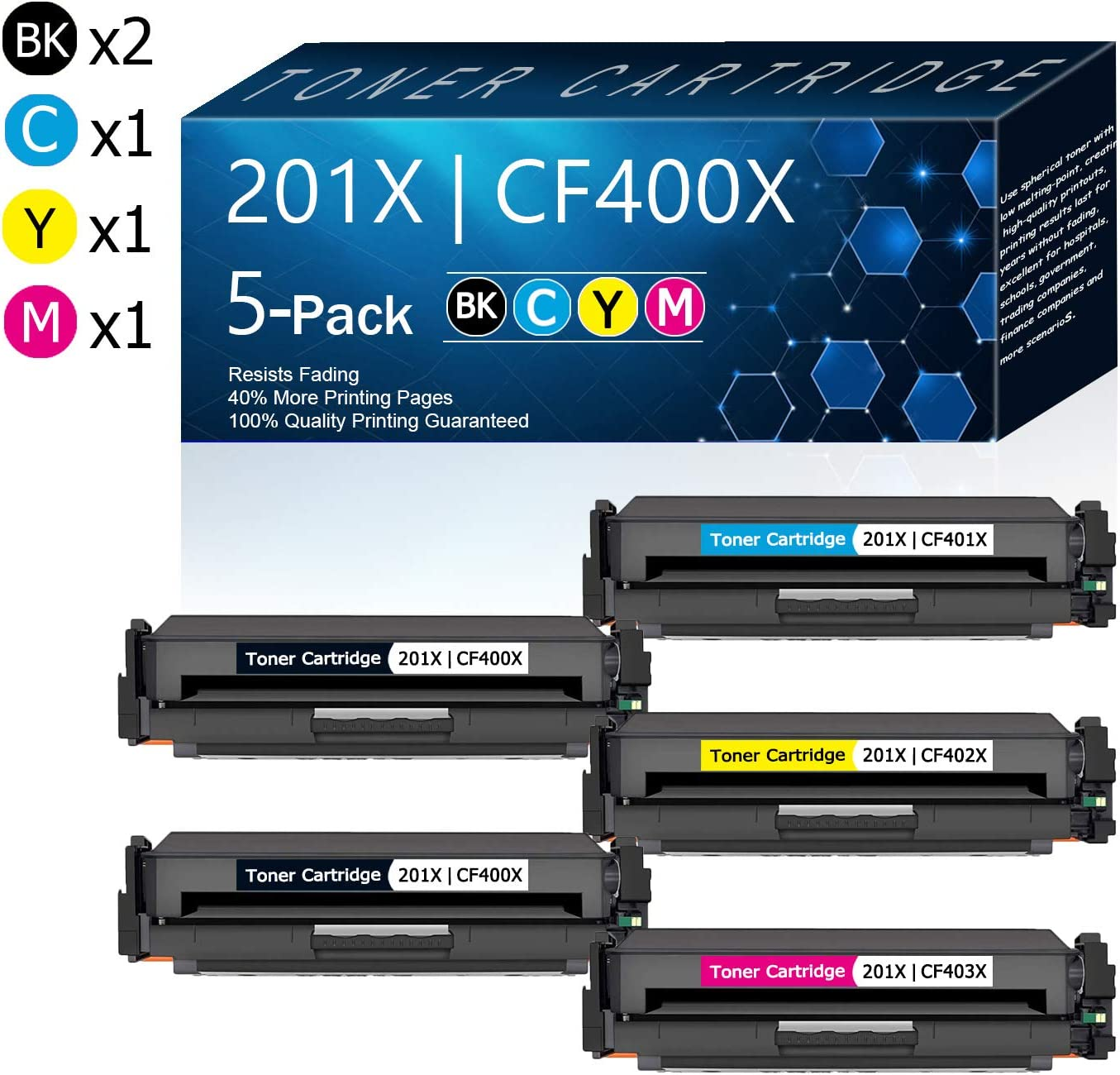 5 Pack (2BK/1C/1Y/1M) 201X   CF400X CF401X CF402X CF403X Compatible Toner Cartridge Replacement for HP Color Pro M252dw M252n Pro MFP M277n M277dw M277c6 M274n Printers Toner.