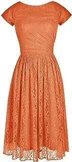 CladiyaDress Women Jewel Neck Short Sleeve Lace Short Bridesmaid Dress Homecoming Gown D103LF