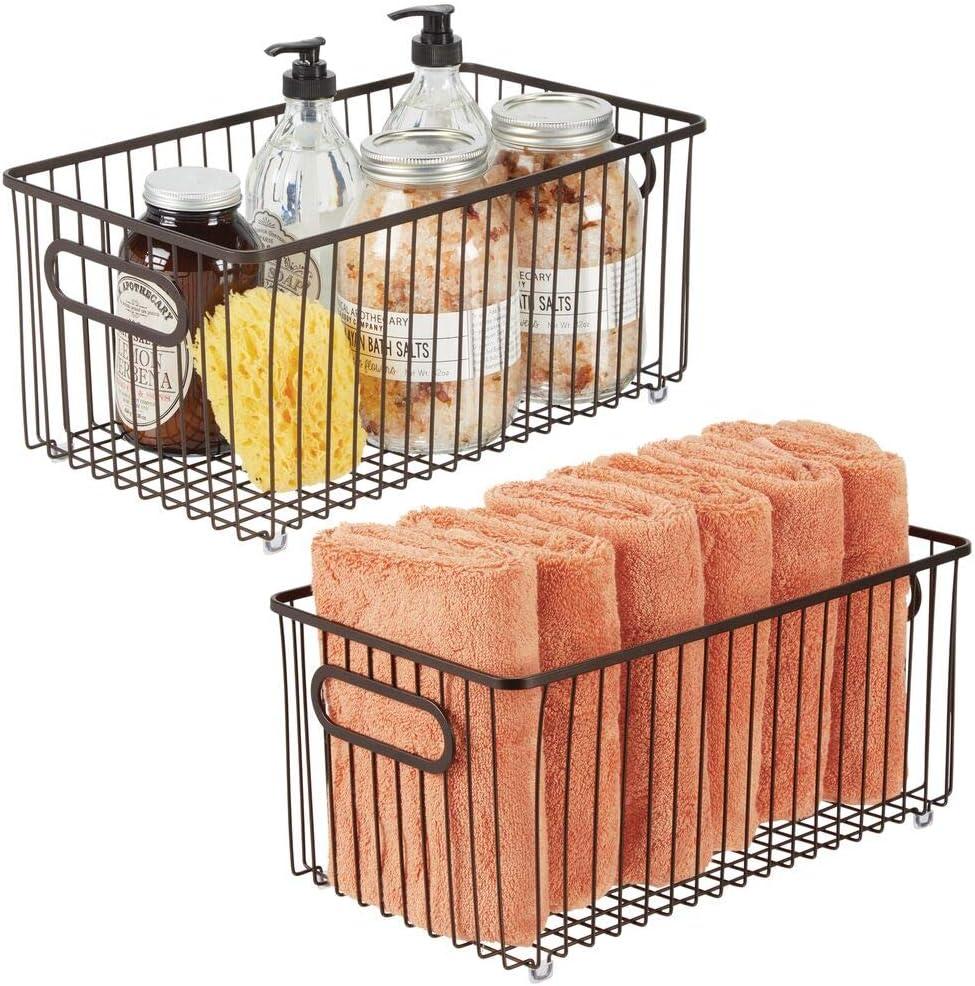 mDesign Metal Bathroom Storage Organizer Farmhouse - Basket Bin Ranking Max 54% OFF TOP14