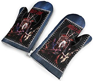 not Motley Crue Oven Mitts with Polyester Fabric Printed Pattern,1 Pair of Heat Resistant Oven Gloves for Cooking,Baking,Grilling,Barbecue Potholders