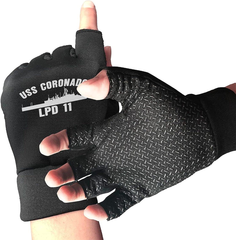 Uss Coronado Lpd-11 Non-Slip Driving Gloves Breathable Sunblock Fingerless Gloves For Women Men