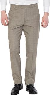 American-Elm Men Light Beige Cotton Slim Fit Formal Trouser
