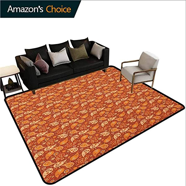 Orange Moir Kids Carpet Playmat Rug Retro Style Pattern With Paisley And Flowers Stylized Ornate Leave Figures Easy Maintenance Area Rug Living Room Bedroom Carpet 5 X 8 Redwood Orange Cream