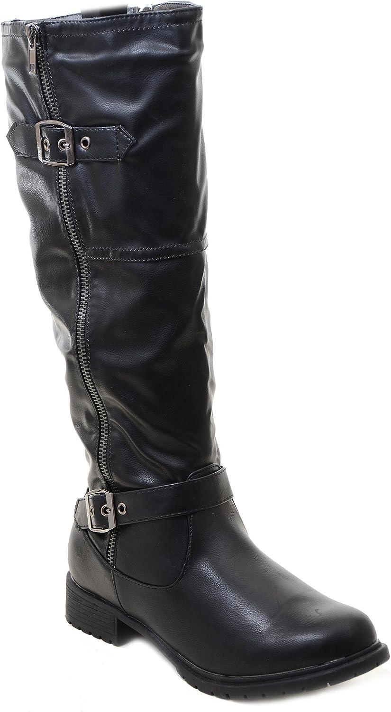 Fourever Funky Black Riding Double Ankle Strap Knee-high Women's Vegan Biker Boots