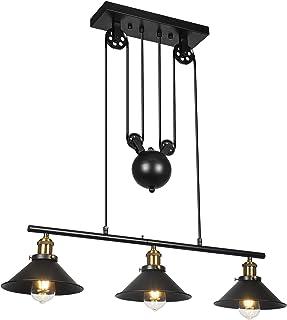 Lámpara colgante de 3 poleas, lámpara de isla Lámpara de techo rústica industrial ajustable Lámpara de techo vintage Lámpara de techo