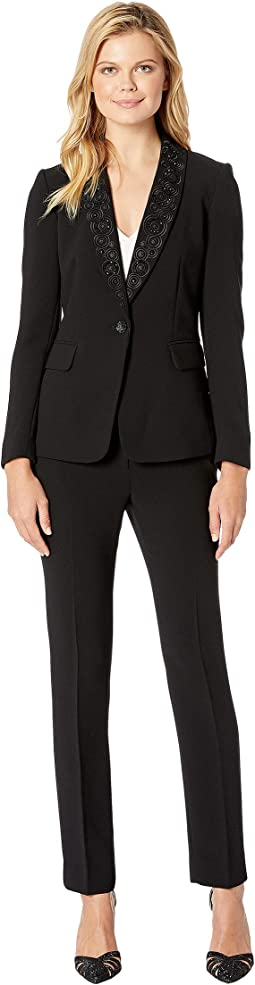 Embellished Shawl Collar One-Button Flap Pocket Pants Suit