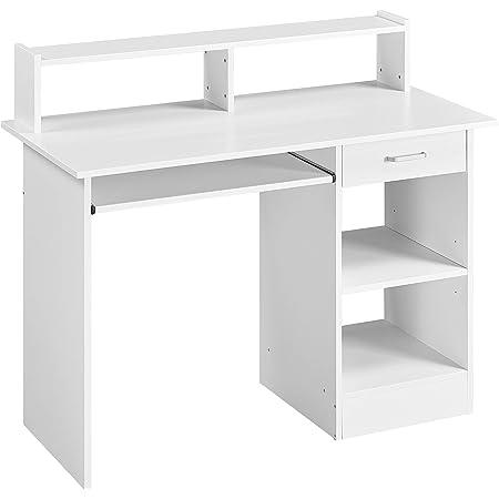 Yaheetech Bureau d'ordinateur avec étagère, bureau avec tiroir, table de travail pour bureau, table de travail, table de travail, table pour ordinateur - Blanc