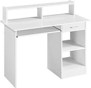 Yaheetech Bureau d'ordinateur avec étagère, bureau avec tiroir, table de travail pour bureau, table de travail, table de t...