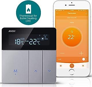 AWOW Termostato WiFi per Caldaia a Gas/Acqua,Termostato Intelligente Programmabile Con LCD Display,Controllo Remoto Smartp...