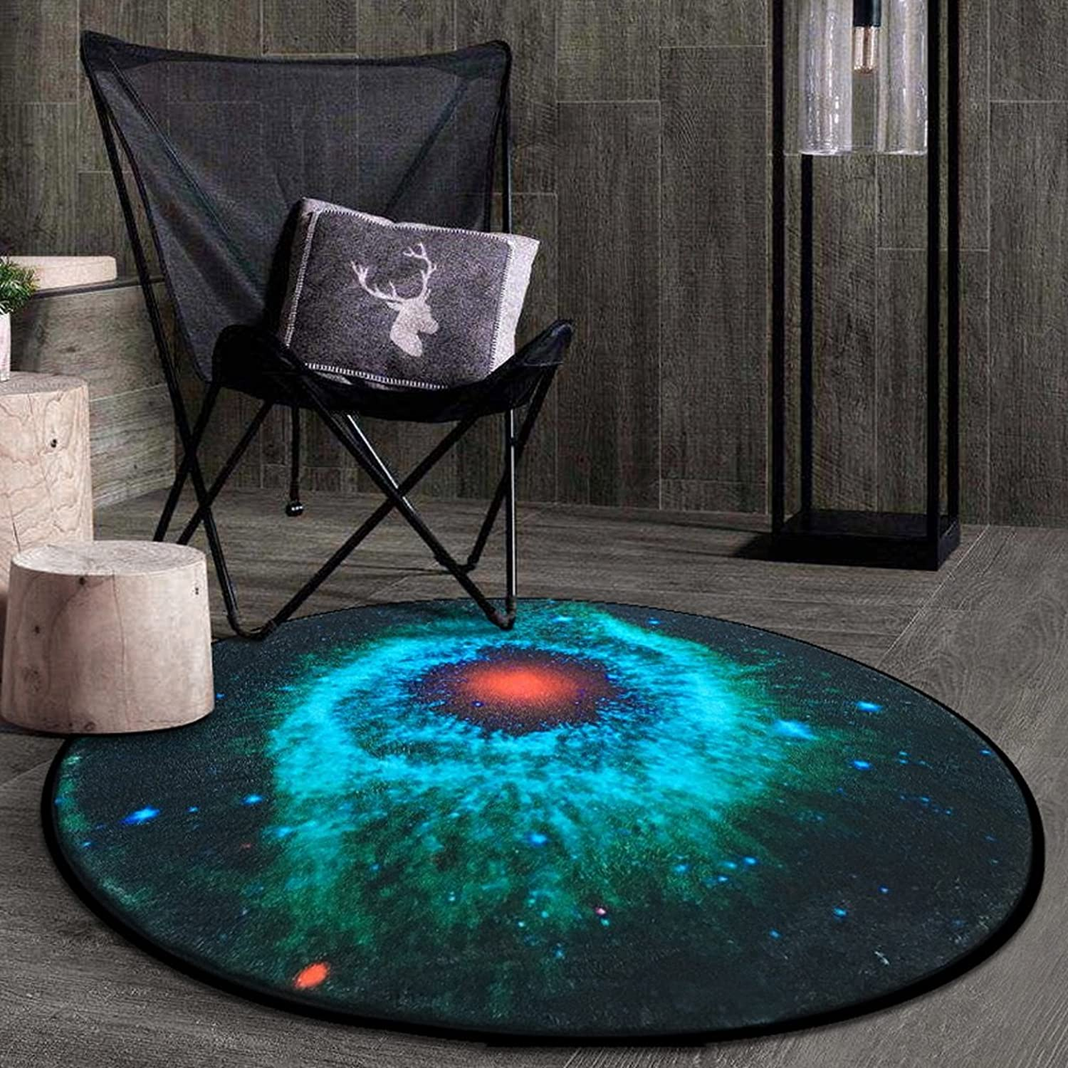 CKH Nordic Creative Fashion Round Carpet Bedroom Coffee Table Pad Living Room Bed Room Hanging Basket Garden Blanket Computer Chair Blanket (Size   Diameter 80cm)