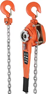 Happybuy 1-1/2 Ton Lift Lever Block Chain Hoist 10Feet Chain Come Along Puller Lift Hoist