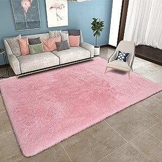 YOH Modern Plush Pink Area Rug for Bedroom Girls Rooms Kids Rooms Nursery Decor Mats Ultra Soft Shag Rug Girls Rug Nursery Rug (5.3x7.5,Pink)