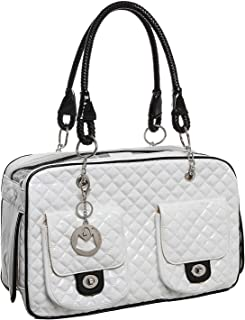 MUJING White Quilted Designer Inspired Faux Patent Leather Dog & Cat Pet Carrier Tote Handbag