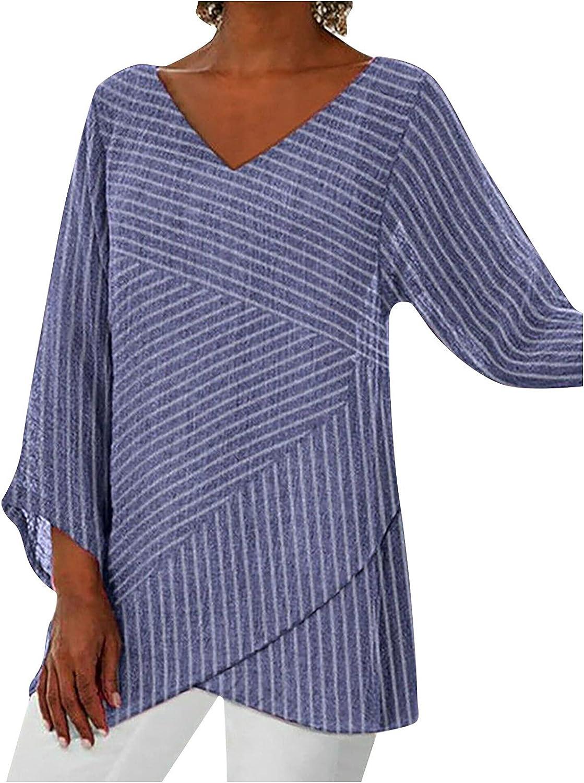 Womens Summer Tops Women Casual Lotu Sleeve V-Neck Solid Irregular Blouse Tops T-Shirt Womens Tops