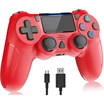 Wireless Controller for Playstation 4, Y-Team 1000mAh Controller for PS4 Game Gamepad Remote Joystick with Dual Vibration, Gyro, Touchpad, Headset Jack, LED, USB for PS4/Pro/Slim/PC/Laptop(Magma Red)