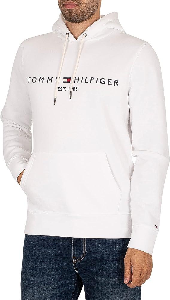 Tommy hilfiger tommy logo hoody felpa per uomo con cappuccio 70% cotone organico 30% poliestere MW0MW11599C