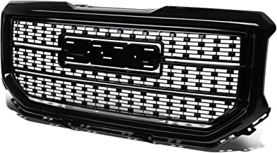 For GMC Sierra 1500 ABS Denali Style Front Bumper/Hood Grille/Grill (Black)