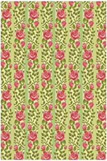 Polyester Garden Flag Outdoor Flag House Flag Banner,Floral,Classical Pink Roses with Green Leaves on Vertical Borders Old Fashioned Design,Green Coral,for Wedding Anniversary Home Outdoor Garden Deco