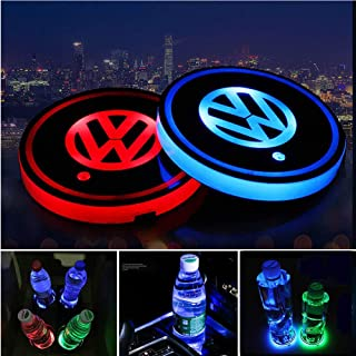 Honghou Technology 2pcs LED Car Cup Holder Lights for Volkswagen, LED Interior Atmosphere Lamp,17 Colors Changing,USB Charging Mat Luminescent Cup Pad