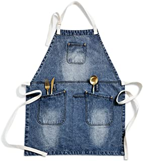 Jeanerlor European Cowboy Heavy Duty Denim Work Apron with Towel Loop + Tool Pockets + Neck Straps and Adjustable up to XXL for Men and Women for Kitchen, Baking, Coffee Shop Industrial Style Home.