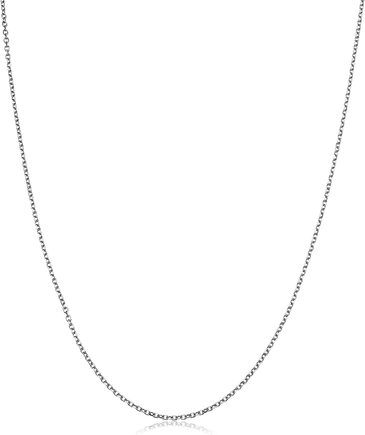 Kooljewelry Solid 14k White Gold 1.1 mm Diamond-Cut Cable Chain Necklace (18, 20, or 24 inch)