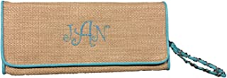 Straw Beach Clutch with Wristlet Strap in Fun Summer Colors *Can Be Personalized