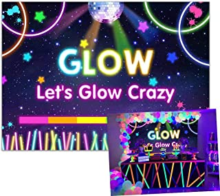 Allenjoy 7x5ft Lets Glow Crazy Backdrop Neon Splatter Blacklight Colorful Laser Ray Photography Backdrop Disco Retro Bance in The Dark Night Birthday Event Party Banner Decorations Photo Booth Props