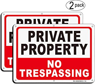 MUXYH Private Property No Trespassing Sign 2 Pack, 10