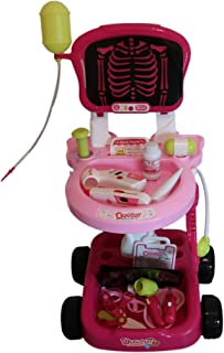 Pretend Role Play Doctor Medical Set includes X-Ray Cart /Trolley! 22 pieces Medical Accessories w/ some lighted medical instruments. Perfect Gift for the Budding Young Dr. or Nurse! (Pink / Hot Pink)